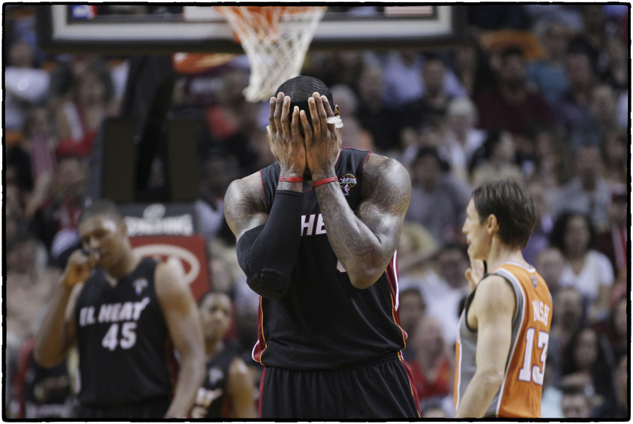 Miami's LeBron James reacts after charged with a foul. : The Sports Sessions : Oklahoma City Editorial and Documentary Photographer