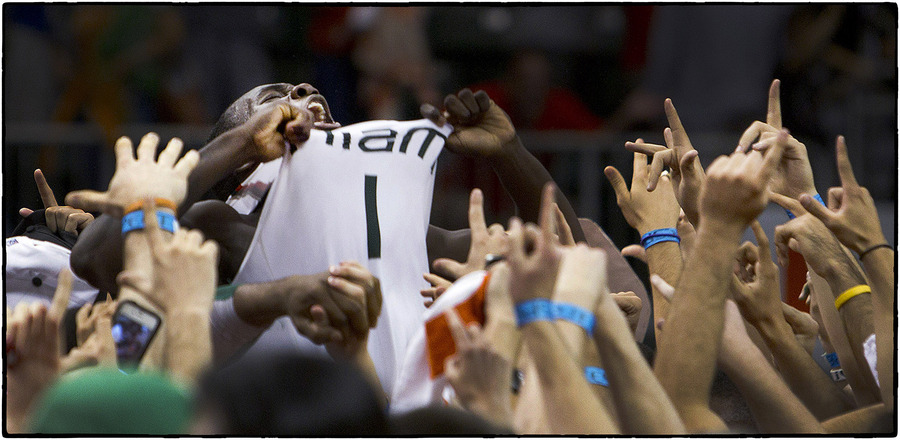 Miami's Durand Scott celebrates with fans. : The Sports Sessions : Oklahoma City Editorial and Documentary Photographer