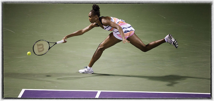 Venus Williams returns a ball : The Sports Sessions : Oklahoma City Editorial and Documentary Photographer