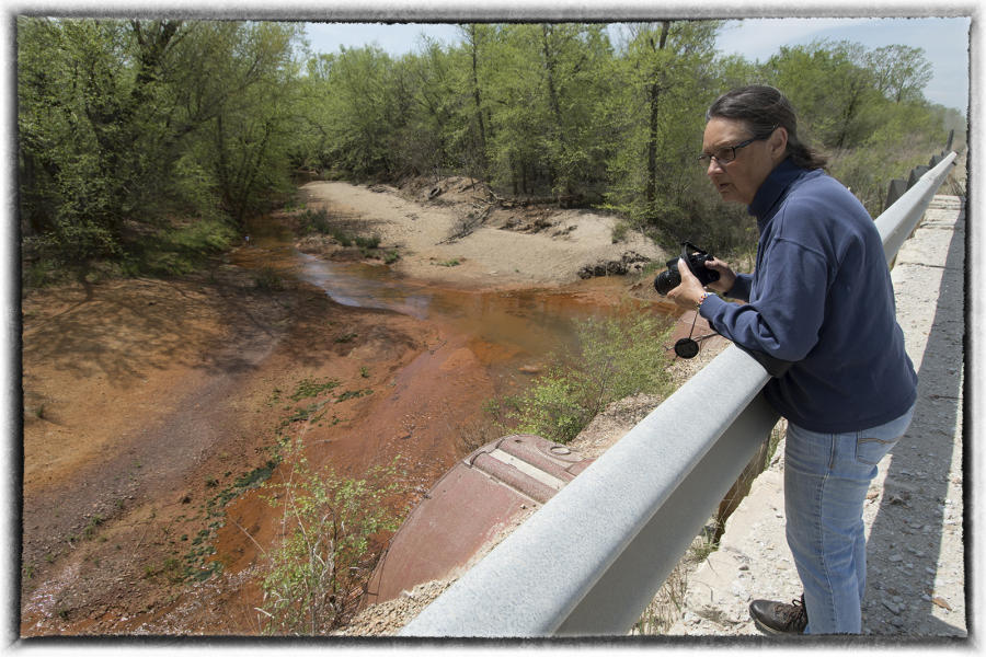 "Rebecca Jim, who founded an environmental  group, reports that Tar Creek is too toxic for fish to survive in. She said ""we must learn to do better"". : The Tar Creek Sessions : Oklahoma City Editorial and Documentary Photographer"