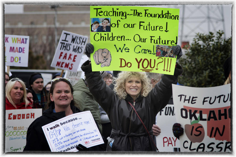 Lawmakers approved an additional $19 million for new school funding moneys.  : The Teachers' Strike Sessions : Oklahoma City Editorial and Documentary Photographer